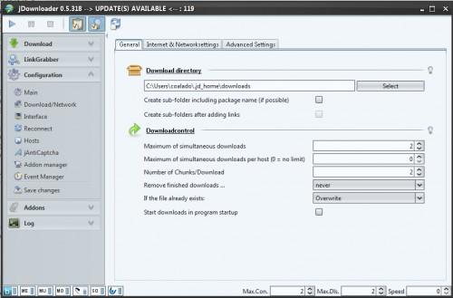 JDownloader 0.5.xx - Konfiguration als Screenshot
