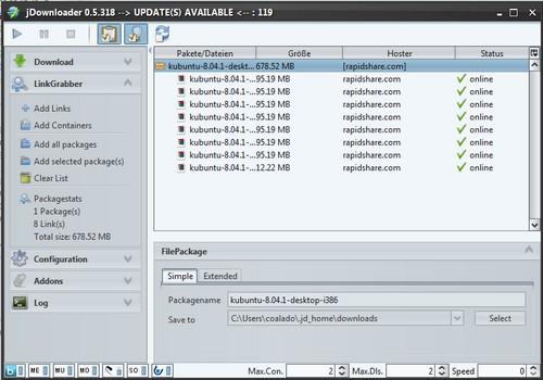 JDownloader 0.5.xx - Linkgrabber mit Drag'n'Drop als Screenshot