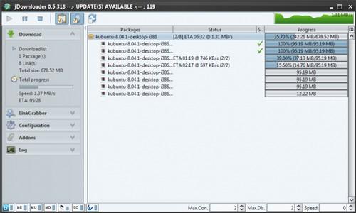 JDownloader 0.5.xx - Neue Sidebar als Screenshot