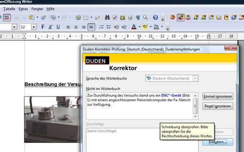 Duden Korrektor im Einsatz in OpenOffice.org