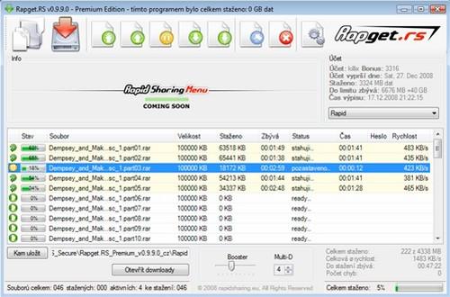 Screenshot von Rapget.RS - Rapidshare Downloader