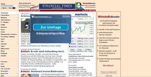 Screenshot vom Anfrage von Umfragen auf Financial Times Deutschland