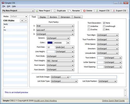Screenshot von Simple CSS unter Windows Vista