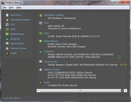 Screenshot von Speccy