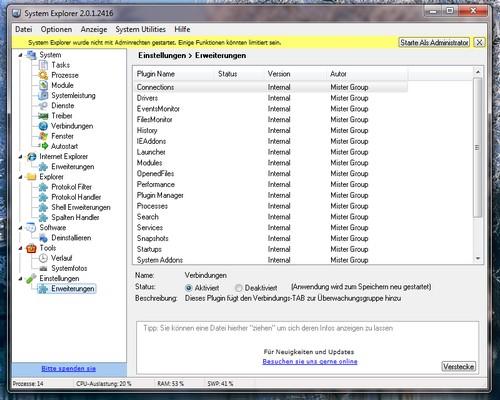Screenshot vom System Explorer unter Microsoft Windows 7