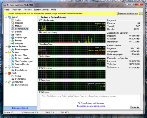 Weiterer Screenshot vom System Explorer unter Microsoft Windows 7