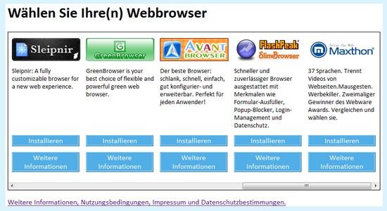 Auswahl Internet Browsern unter Microsoft Windows 7