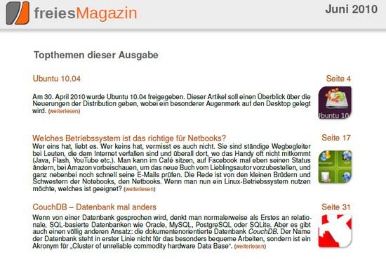 Topthemen im FreiesMagazin der Ausgabe Mai 2010