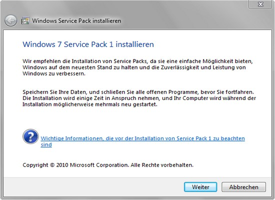 Service Pack 1 unter Microosft Windows 7