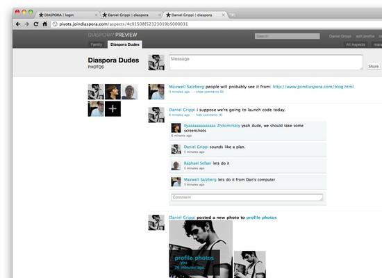 Screenshot von Diaspora