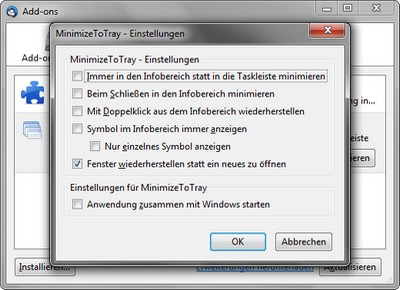Firefox und Thunderbird im Infobereich der Taskleiste minimieren