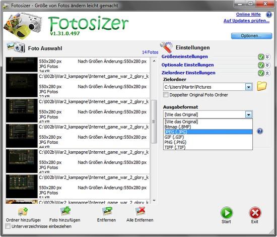Fotosizer – Anpassen, editieren von vielen Fotos mit wenigen Klicks