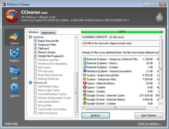 CCleaner 3.06 – Optimierung und Aufräumen von Windows