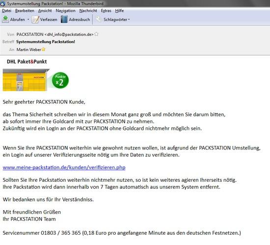 Vorsicht vor falscher Mail von DHL Packstation