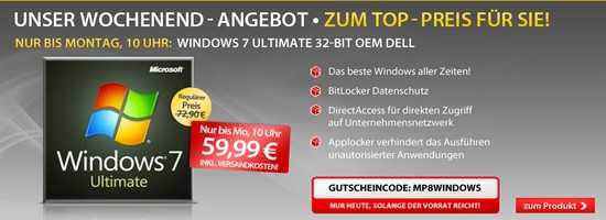 Windows 7 Ultimate für 59,99 Euro