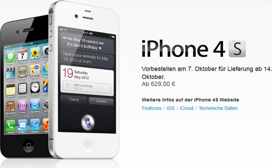 iphone 4s ohne vertrag ab 629 euro im apple online store. Black Bedroom Furniture Sets. Home Design Ideas