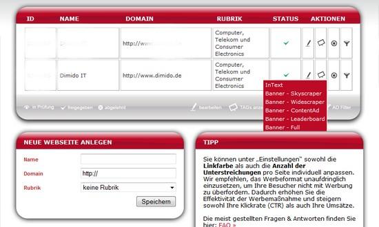 Adiro - InText-Werbung und Banner-Werbenetzwerk mit hohen Klick-Preisen
