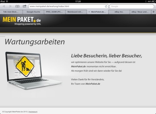 MeinPaket offline wegen Wartungsarbeiten: Wieder zu viele Gutscheine verteilt?