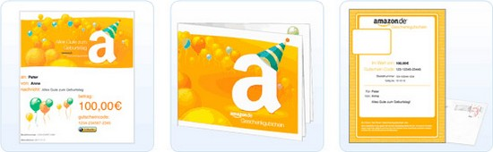 Amazon Geschenkgutscheine zum Selbstausdrucken und Verschenken