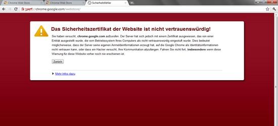 Google Chrome Browser: Chrome Web Store ist nicht vertrauenswürdig