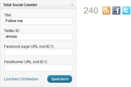 Wordpress-Plugin: Total Social Counter - Follower von Twitter, Facebook und Feedburner anzeigen