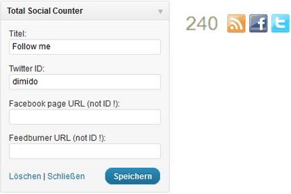 Wordpress-Plugin: Total Social Counter - Follower von Twitter, Facebook und Feedburner anzeigen