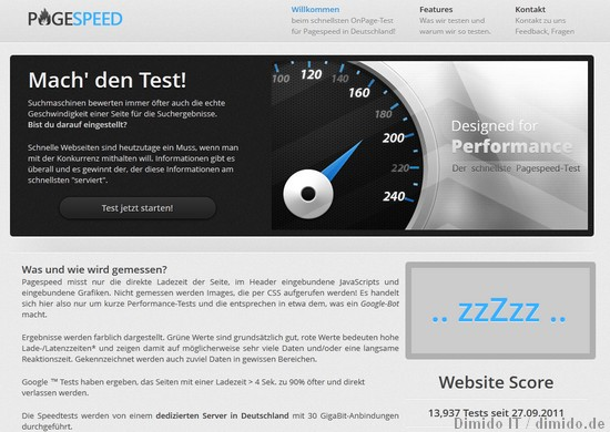 Messe die Performance deiner Website mit Pagespeed.de
