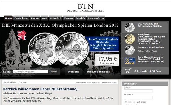 BTN Shop – Münzen, Kursmünzensätze, Medaillen und weitere Sammlerstücke