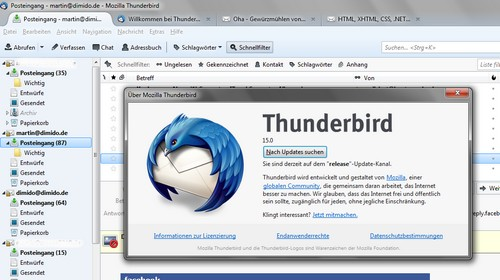 E-Mail-Client Thunderbird 15 mit Chat-Client und Do-Not-Track
