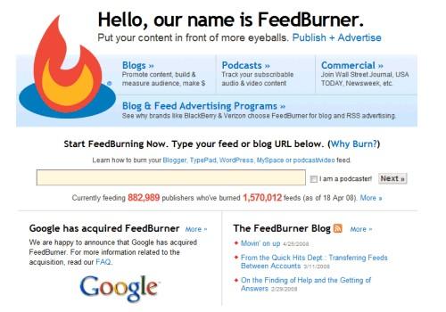 Feedburner im Jahre 2008, nach der Übernahme durch Google