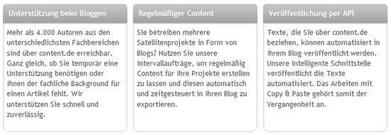 content.de liefert Blogbeiträge mit passenden Bildern für Ihren Blog