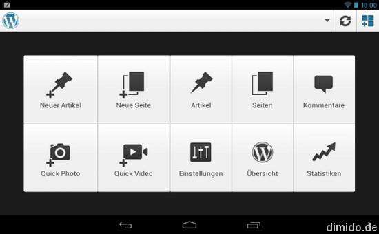 WordPress App für Android - Übersicht auf Android Tablet