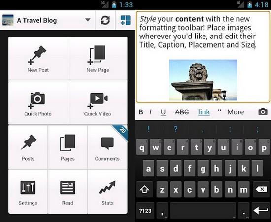 WordPress App für Android - Einsatz auf Android Smartphone