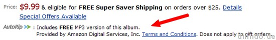 Amazon AutoRip - Kostenlose MP3s bei CD-Kauf