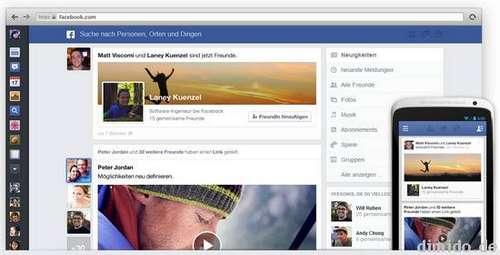 Facebook mit neuem Newsfeed und Design, plus Link für die Warteliste