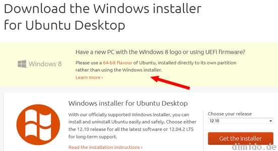 Ubuntu Webseite warnt Nutzer von Windows 8: Kein Wubi verwenden!