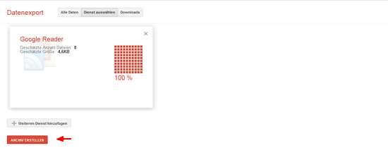 Google Reader - Schnell Daten sichern
