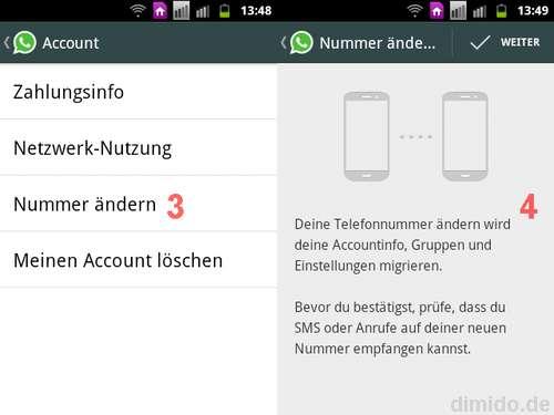 WhatsApp - Rufnummer ändern, wechseln
