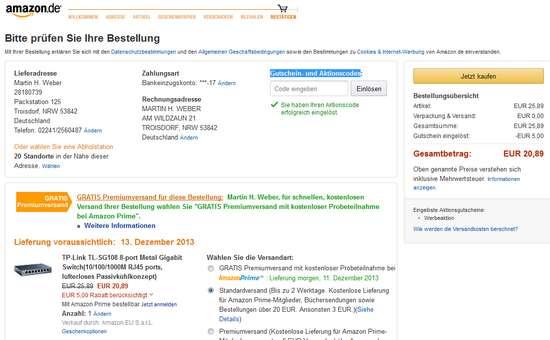 Endlich: Wieder ein Amazon Gutschein von 5 Euro