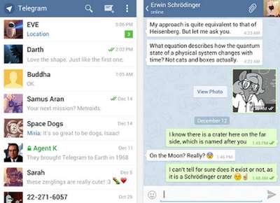 Telegram Textnachrichten, Fotos und Videos austauschen