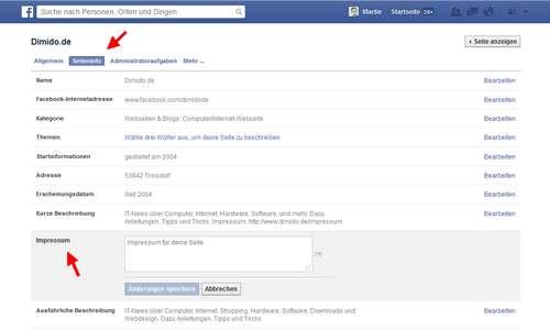 Facebook: Impressum - Seiten - Pages