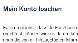 Facebook Account loeschen