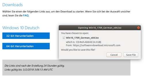 Unter Linux - Windows 10 Version 1903 als ISO-Datei herunterladen