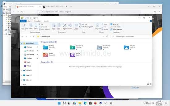 Windows 11 Screenshot mit Firefox Browser und Windows Explorer